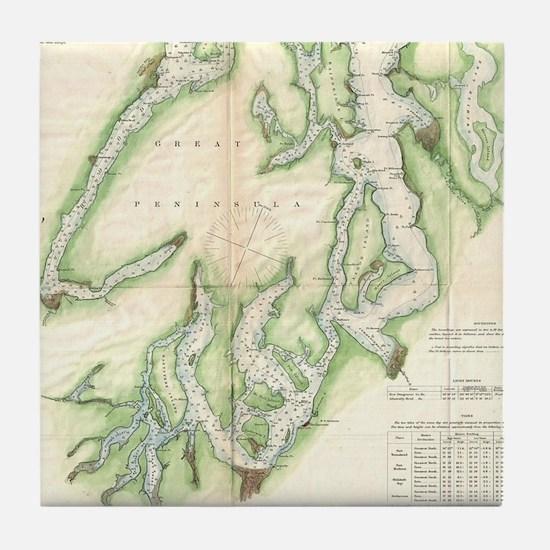 Vintage Map of The Puget Sound (1867) Tile Coaster