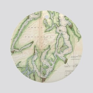 Vintage Map of The Puget Sound (186 Round Ornament