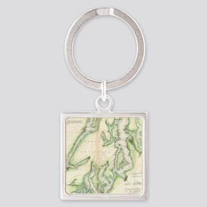 Vintage Map of The Puget S Keychains