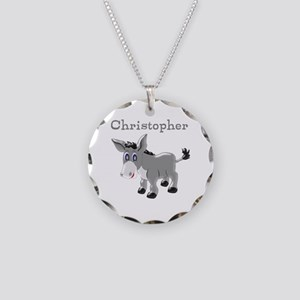 Personalized Donkey Necklace Circle Charm