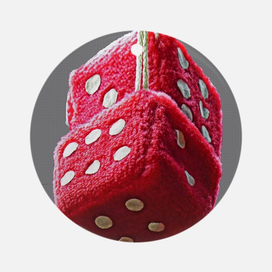 Red Fuzzy Dice Round Ornament