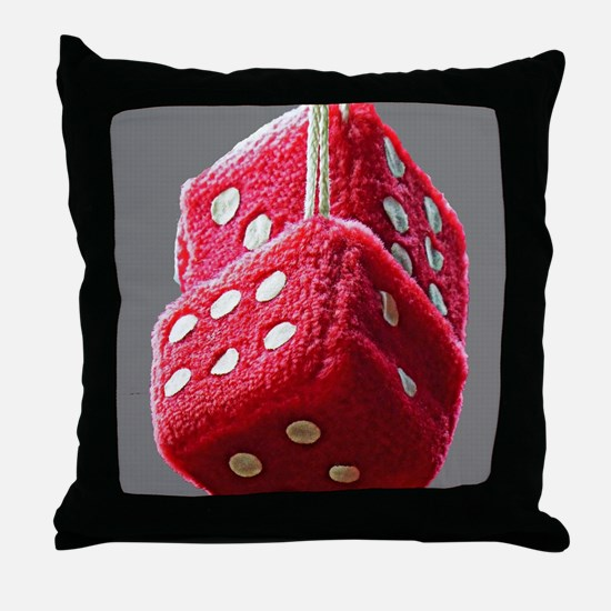 Red Fuzzy Dice Throw Pillow