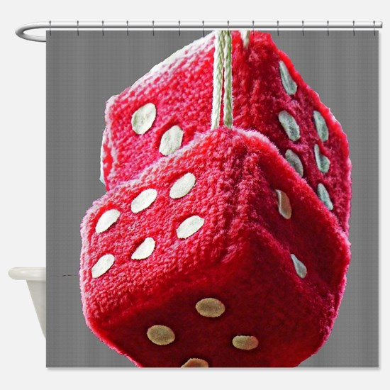 Red Fuzzy Dice Shower Curtain