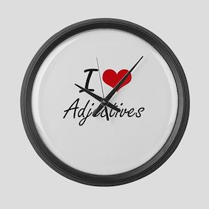 I Love Adjectives Artistic Design Large Wall Clock