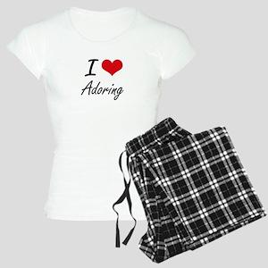 I Love Adoring Artistic Des Women's Light Pajamas