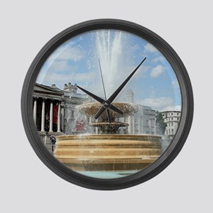Fountain, Trafalgar Square, Londo Large Wall Clock