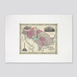 Vintage Map of Washington D.C. (186 5'x7'Area Rug
