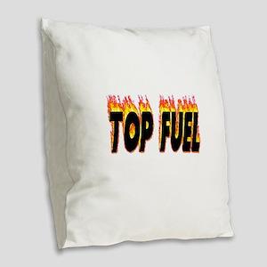 Top Fuel Flame Burlap Throw Pillow