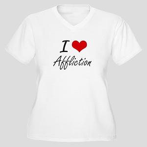 I Love Affliction Artistic Desig Plus Size T-Shirt