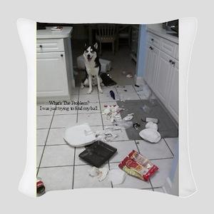 Innocent Siberian Husky Woven Throw Pillow