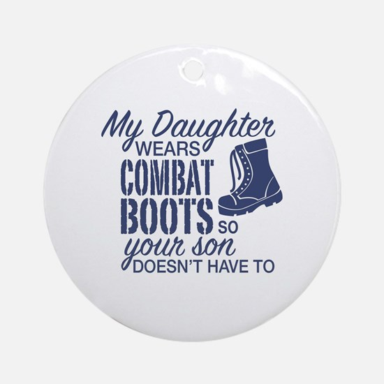 Cute Army parents Round Ornament