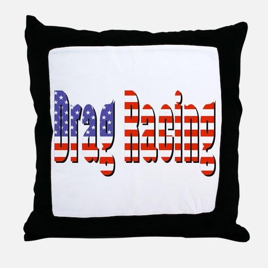 Patriotic Drag Racing Throw Pillow