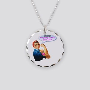 Rosie Fighting Cancer Design Necklace Circle Charm