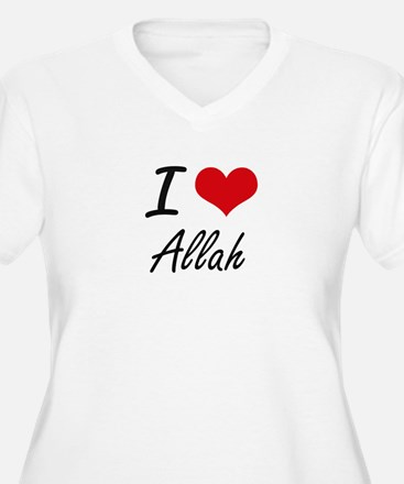 I Love Allah Artistic Design Plus Size T-Shirt