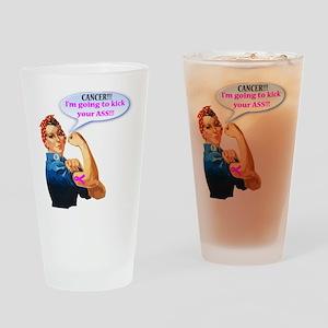 Rosie Fighting Cancer Design Drinking Glass