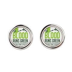 Our Blood Runs Green Round Cufflinks