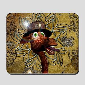 Steampunk, funny giraffe Mousepad