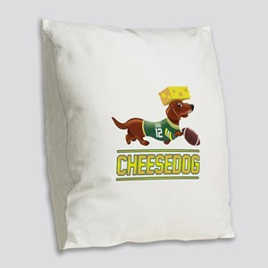 Cheesedog 2 (Dachshund) Burlap Throw Pillow