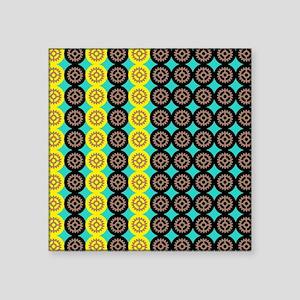 "Alternating gearwheels patt Square Sticker 3"" x 3"""