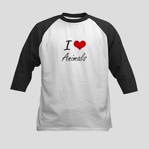 I Love Animals Artistic Design Baseball Jersey