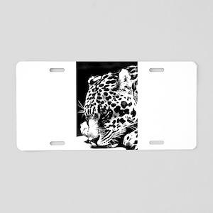 Leopard at night. Aluminum License Plate