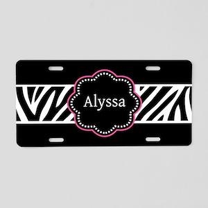 Black Pink Zebra Personalized Aluminum License Pla