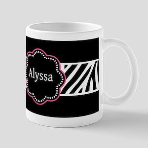 Black Pink Zebra Personalized Mugs