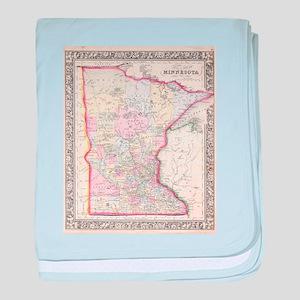 Vintage Map of Minnesota (1864) baby blanket