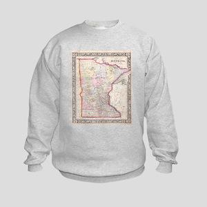 Vintage Map of Minnesota (1864) Kids Sweatshirt
