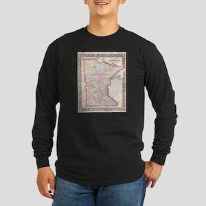 Vintage Map of Minnesota (1864 Long Sleeve T-Shirt