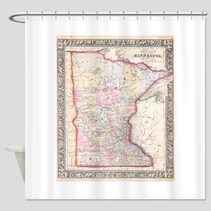 Vintage Map of Minnesota (1864) Shower Curtain