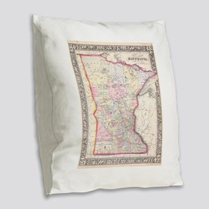 Vintage Map of Minnesota (1864 Burlap Throw Pillow