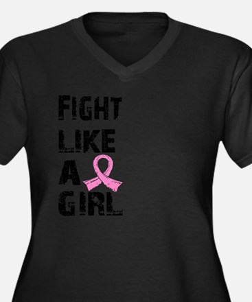 Cute Fight like a girl Women's Plus Size V-Neck Dark T-Shirt