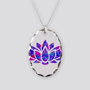 Lotus flower Necklace Oval Charm
