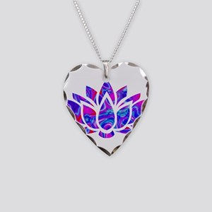 Lotus flower Necklace Heart Charm
