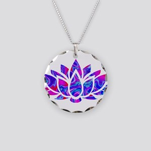 Lotus flower Necklace Circle Charm
