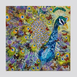 Peacock and Butterflies Tile Coaster