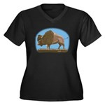 Bison Women's Plus Size V-Neck Dark T-Shirt