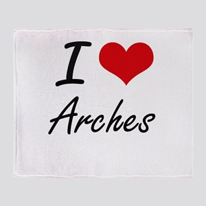 I Love Arches Artistic Design Throw Blanket