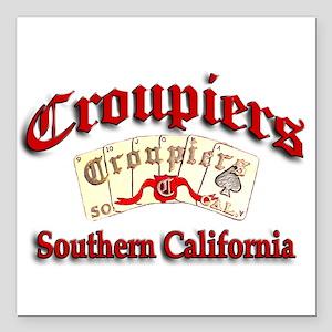 "Croupiers Car Club Square Car Magnet 3"" x 3"""