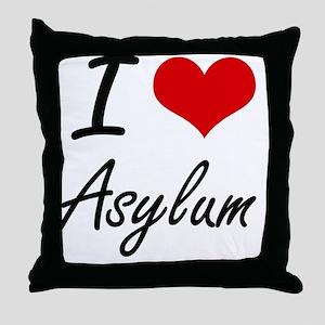 I Love Asylum Artistic Design Throw Pillow