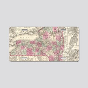 Vintage Map of New York (18 Aluminum License Plate