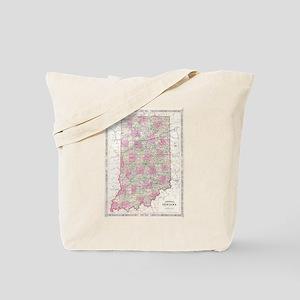 Vintage Map of Indiana (1864) Tote Bag