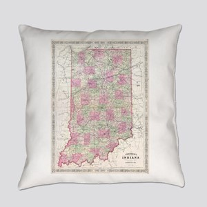 Vintage Map of Indiana (1864) Everyday Pillow