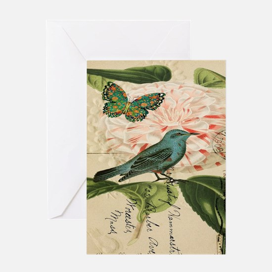 french botanical flower bird Greeting Cards