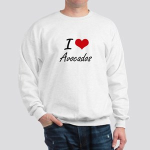 I Love Avocados Artistic Design Sweatshirt