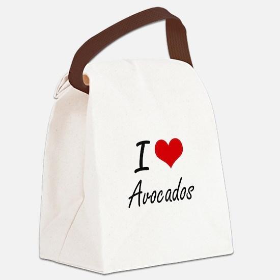 I Love Avocados Artistic Design Canvas Lunch Bag