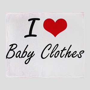 I Love Baby Clothes Artistic Design Throw Blanket