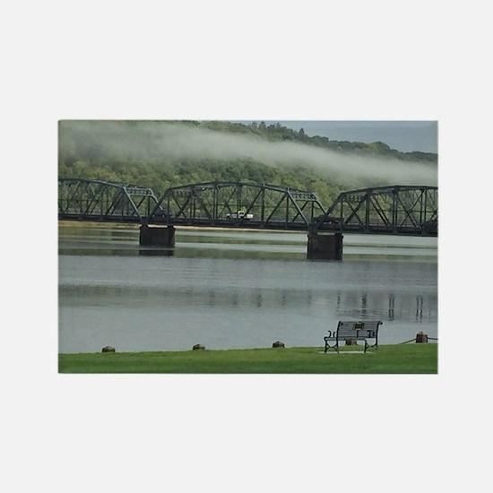 Foggy Stillwater Bridge Rectangle Magnet