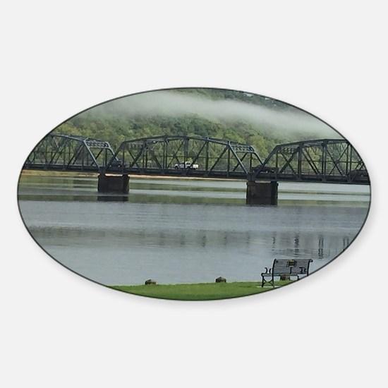 Foggy Stillwater Bridge Sticker (Oval)
